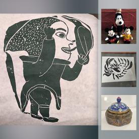 MaxSold Auction: This online auction features art such as signed Inuit stone cuts, signed Inuit prints, and signed pottery, antiques such as antique bird prints, antique creamer, and antique scythe, collectibles such as vintage Disney dolls, crystalware, and silver plate, oak coffee table, glassware, cookbooks, lava lamps, vintage advertising and more!