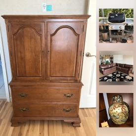 MaxSold Auction: This auction Ethan Allen Dresser Armoire, Weber Grill, Anti Gravity Chairs, Pottery Water Bowl, Japanese Lunchbox, JBL Speakers, Ethan Allen Brown Leather Sectional, Ethan Allen Wood Coffee Table, Lenox Cordial Glass Set, Murano Perfume Bottle, Ethan Allen Wall Unit, Metal Ship Art, 22 Inch Panasonic TV, Cuisinart Ice Cream Maker, Minnesota Golf Bag, and much more!