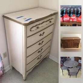 MaxSold Auction: This online auction features Rubbermaid storage cabinets, an air compressor, vintage Scwinn ladies bike, rolling kitchen cart, camping equipment, wicker furniture, a recreational kayak, cast iron outdoor seating, a Sentry safe, Coca Cola Collectibles, vintage cigarette lighters, Silverstone Cookware, vintage Samsonite luggage, French Provincial bedroom furniture, Harley Davidson Collectibles, Carnival Glass, dollhouse furniture, and much more!
