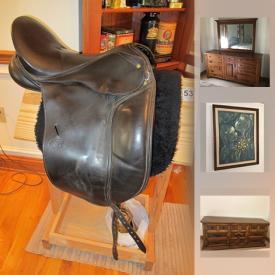 MaxSold Auction: This online auction features Schleese saddle, Albion saddle, dog agility equipment, collectibles such as Wedgwood, Czech china, crystal ware and Goebel figurine, furniture such as Ethan Allen hutch, Ethan Allen dresser, nightstands, framed wall art with COA, stemware, small kitchen appliances, framed prints, copper ware, CDs, bookcases, books, linens and much more!
