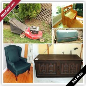 MaxSold Auction: This auction features arm chair, closet organizer, IBM Selectric typewriter, cedar chest, teak cabinet, Royal Albert dishes, Kenmore stove, couch, wing chair, crystal ware, vintage camera equipment, Kenmore microwave, lawn mower, rain barrel, and more!