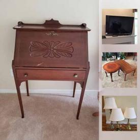 MaxSold Auction: This online auction features Crystal And Cut Glass, Teapot, Tea Set, Porcelain Egg, Lazy Boy Rocker Recliner, Sony Flat Screen TV, Slant Top Writing Desk, Vintage Meat Grinders, Exercise Ball, Wood Console, and much more!