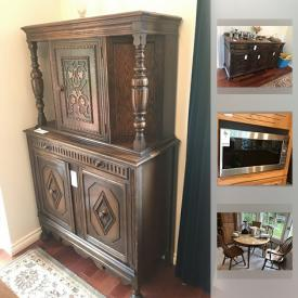 """MaxSold Auction: This online auction features Sterling Silver. Original Art, stone sculptures and prints including an AY Jackson print, hunt scenes. Antique Malcom dining room suite, executive desk unit. Free spirit 802 recline exercise bike. Vintage portable Singer sewing machine in wooden case. Collectible stamps, vintage dolls. Toshiba 31"""" TV. Kenmore chest freezer. Royal Doulton everyday """"Lamberthware"""", Royal Worcester """"Evesham"""", Portmerion """"Pomona"""", Aynsley and Royal Crown Derby dishes. Crystal and glass such as Waterford goblets; pinwheel vases, punch bowl set. Copper/brass/ pewter/silver plate and much more!"""