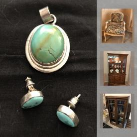 """MaxSold Auction: This online auction features Jewelry such as women's and men's rings, turquoise and sterling silver earrings and pendant set, necklace and earring sets, pearl necklaces and costume. Royal Albert """"Tea Rose"""" and Eschenbach china. Electronics such as a 22"""" Samsung TV and Technics stereo system. Collectible Waterman and Cross pens; coins and stamps; Beswick fish figurine; vintage handbags; Disney and Southwestern decor. Retro and lustreware Glassware, Crystal stemware and serving pieces. Furniture such as a Dining room suite, Sklar Pepplar sofa and loveseat, Kroehler sofa bed, many brass and glass look tables and etagere, chrome and glass as well. Hand tools, dolly. Yard and Garden tools and much more!"""