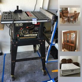 MaxSold Auction: This online auction features outdoor furniture, extension ladder, Craftsman table saw with stand, La Z Boy recliner, Cordless Drill, Scroll Saw, ankle and hand weights, bread machine, retro dining table, vintage airline models, and much more!