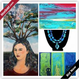 MaxSold Auction: This auction features Oil on canvas, colour photograph, glass necklaces, iron sculpture, mixed media on canvas, encaustic on plywood, acrylic on canvas, acrylic on wood panel, and more!