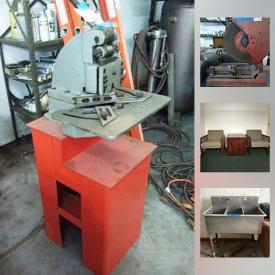 MaxSold Auction: This online auction features machinery such as an iron worker, motor blower, bandsaw, magnetic drill, edger, circular saws, grinder, industrial scale and more, metal shelf. industrial tables, saw horses, welding tools, welding wire, GE fridge, tools, pipes, and fittings, stainless commercial sink, storage tubs, barrels, file cabinet, office chairs, desk chairs, office items and much more!