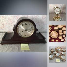 MaxSold Auction: This online auction features bone China cups and saucers, Sterling Silver cream and sugar, Johnson Brothers Dishware, antique Sessions mantel clock, antique bed warmer, Buffalo Pottery milk jug, Royal commemorative cups, cross and olive glassware and much more.