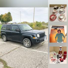 MaxSold Auction: This online auction features a 2007 Jeep Patriot, toys such as die cast metal cars, Avengers Pez dispensers, board games, Avengers Halloween masks, and Looney Tunes plush dolls, clothing such as men's shirts and Grey Cup Jersey, collectibles such as Molson memorabilia, Star Wars memorabilia, vintage Coca Cola bottles, Campbell's, Disney's Mickey Mouse, Budweiser, and Oktoberfest, china such as Aynsley, Royal Stafford, and Queen Anne and much more!