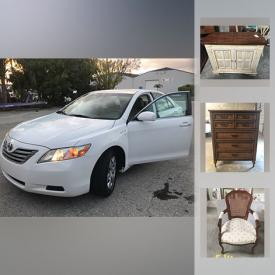 """MaxSold Auction: This online auction features 2008 Toyota Camry hybrid, furniture such as Thomasville table with chairs, Bassett entertainment center, cane back chair, and sleep number beds, Toshiba 28"""" TV, signed framed prints, Christmas decor, kitchenware, vintage pottery, glassware, ladies accessories, home health aids and much more!"""