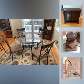 MaxSold Auction: This online auction features furniture such as Curio Cabinet, Dining Chairs, Vilas Side Tables, artworks such as  floral prints, prints on canvas and much more.