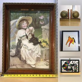 MaxSold Auction: This online auction features Skelmo Woodcut, Japanese Color Woodcuts, Antique Books Collection, German Text Tin Tin Books Collection, Small Trampoline, Cast Iron Toys, Antique 1920's Deco Cast Bookends, Alexander Calder Lithographs, MCM Wood Lamp, Brother Printer and much more!
