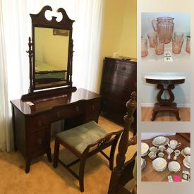 MaxSold Auction: This online auction features Antique Furniture such as a full size bedroom suite consisting of a vanity and bench, 4 post bed, chest of drawers, night table; marble top table; 3-section cane-back armchair with a needlepoint seat. Furniture such as a queen bed, tall chest on legs; Virginia House china cabinet; rod iron patio table and chairs. Vintage Mahogany sewing table; McCoy pitcher and wash basin; aluminum cups. ART such as framed embroidery, vintage silhouettes, a watercolor signed Maria Kress. Collectible Lefton babies. Pfaff sewing machine, Hitach TV and Sanyo DVD player. Glass such as pink Depression beverage set, bowls, pitcher and ice bucket; milk glass; Carnival glass silver rimmed punch bowl set. China such as Noritake service for 8 plus extras, Haviland teapot, tea cup sets. Quilts. Jewelry such as vintage and designer costume. Murray lawn mower and more!
