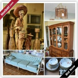 MaxSold Auction: This auction features painting, upholstered couch, two swag lamps, carpet, sideboard, curio cabinet, figurines, ceramic urns, Bernadotte porcelain china Czechoslovakia, china cabinet, silver plate, games, books, leather armchair, kitchenware, steins, highboy dresser, and more!