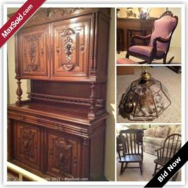 MaxSold Auction: This auction features antique rocking chair with footstool, antique court cupboard, antique hall tree with storage bench, antique Belgian confessional, two glass chandeliers, and children's furniture!