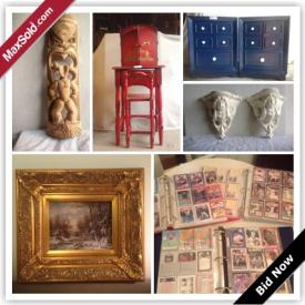 "MaxSold Auction: This auction features Yabu Pushelberg Chair, vintage pearl bass drum, baseball & hockey cards, pair of cane back  chairs, mannequin, John Kerr signed prints, bronze & faux leather lamps, Herman Miller table & chairs, stained glass, watercolour, original acrylic, IKEA ""Manstad"" sofa bed, watches, lewelery, and more!"