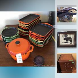 MaxSold Auction: This online auction features Le Creuset Enamel Cast Iron Grill pans, Wolfgang Puck Pressure Oven, Visio 24in flatscreen tv, Opal Ice Maker, Celestron Telescope, Commercial KitchenAid Mixer, and much more!