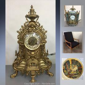 MaxSold Auction: This online auction features collectibles such as Royal Doulton figurines, Belleek, Cloisonne clock, and vintage Ivorex plaque, art such as antique maps, antique stone carving, original framed watercolour paintings, original framed oil paintings, and mid century modern metal sculpture, furniture such as vintage teak mid century modern dining table, vintage mid century modern lounge chair, and antique pedestal, sterling silver jewelry, antique slag glass chandelier, vintage magazines, vintage advertisements and much more!