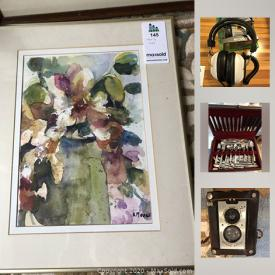 MaxSold Auction: This online auction features Prints, Flatware, Vintage Brownie Camera, Costume Jewelry, Zeiss Ikon film camera, Watercolours Original, Fireplace Insert and much more!