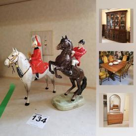 "MaxSold Auction: This online auction features porcelain CHINA such as Royal Doulton's ""Dickens ware"" and 23 figurines, 64 pieces Wedgwood ""Gold Florentine"" service for 9, less some pieces and Jasperware; Beswick riders on horses figurines, Royal Albert's ""Silver Maple"" service for 8, tea set and serving pieces, Shelly tea service; Spode ""hunt scene"" dishes. 14K, 10K and sterling silver and costume Jewelry. Danby chest freezer. Collectible plates including Coalport; 12 piece Christmas village; brass; Capodimonte and porcelain florals; teapots; Gresley mixing bowl set; currency and stamp collection. 118 pieces Crystal and glassware, amber stemware; cut / pressed serving pieces; Swarovski mouse. Electronics such as Technics and Panasonic stereo systems; Janome sewing machine. Furniture such as American Drew dining and bedroom suites; Asian styled cabinet and more!"