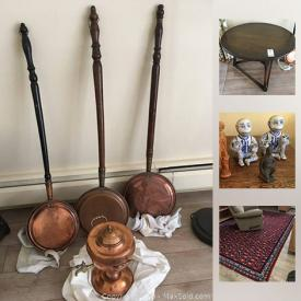 MaxSold Auction: This online auction features collectibles such as copper ware, fine china, and furniture such as oak table, Asian style cabinet, and La-Z-Boy recliner, glassware, kitchenware, binoculars, framed prints, office supplies, home decor, area rug and more!