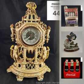 """MaxSold Auction: This online auction features Vintage MCM glass decanter set, Fire King / Anchor Hocking and heavy glass tiki mugs. China such as 61 pieces Royal Albert's """"Petit Point,"""" Royal Doulton's """"Sarabande """" service for six large and mini Toby jugs. Art includes John Nelson and vintage Paris landscape prints. Collectible Pez; comics; lunch boxes; decor plates / vintage ceramics; Barbie; Coca Cola; lapel pins / pin-back buttons; baseball / motorcycle cards; motorcycles and cars; reference books. Vintage 8mm cameras; Nasa fish finder; Cinderella electric clothes washer; Kenmore hairdryer. 62"""" snowboard, bindings and accessories. Costume jewelry and more!"""