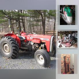 MaxSold Auction: This online auction features Allis Chalmers Fork Lift, Battery Charger, Air Compressor, Massey Ferguson Tractor, Jet Ski, Montessori Motorbike, Tiffany-style Lamp, Guitar, Children's Books, Grandmother Clock, Vintage Tiger Oak Dresser, Wicker Furniture, Cedar Chest, Madame Alexander Dolls, Skis, Fishing Equipment and much more!