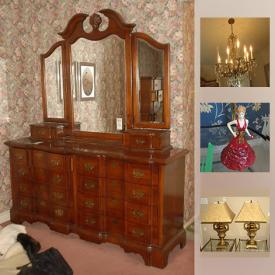"""MaxSold Auction: This online auction features FURNITURE such as 3 Vintage dining room suites - one French Provincial; several bedroom suites; a patio table, 6 chairs and umbrella; Asian style cabinets; brass colored metal and glass end tables, etagere and more! Paragon and China Pearl fine CHINA dish sets, Johnson Bros and JG Meakin ironstone dishes and tea set. Appliances such as a Kenmore upright freezer. Electronics such as 2 Panasonic and Pioneer CD players, Akai tape player, Vintage Philips table top radio, Wii console and games, Sharp Aquos 46"""" TV. Mexican sterling silver and glass shot glasses, brass Turkish coffee set, ruby red goblets. Collectible Royal Doulton figurine; vintage Pyrex bowl; perfume bottles and mini oil lamps and more!"""