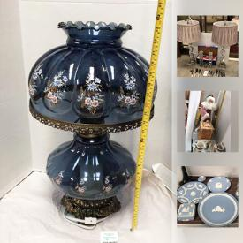 """MaxSold Auction: This online auction features Collectible dolphins, clowns, angels, Lladro, Swarovski, Belleek, Capodimonte and Lefton china florals, Hummels, Willow Tree, Dept 56 Snow babies, Coca Cola, Wedgwood Jasperware and more! Thomas, Bavaria CHINA set with serving pieces, Crest wood """"Heritage,"""" Japan dish set for 12, """"Home for the Holidays"""" and Pfaltzgraf """"Winterberry"""" holiday dishes. Crystal and Glass such as milk, perfume bottle, art , cut /pressed / etched serving pieces and stemware, colored / Depression, Waterford stemware and serving pieces. JEWELRY such as a 14K chain necklace. Signed limited edition prints. Lighting such as antique lamps. TEXTILES such as afghans, doilies and table linens and more!"""