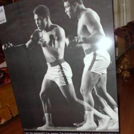 MaxSold Auction: This auction features Muhammad Ali signed calendar cover, china, mahogany dinning table and chairs, small appliances, grinders and drill, ladder, tools, vintage 1970s end table, decor. Muhammad Ali signed calendar cover, original artwork, furniture, keyboard, and more.