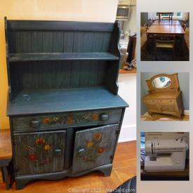 MaxSold Auction: This online auction features an Antique oak mirrored sideboard and oak buffet; Vintage writing desk, oak chest of drawers, bedside cabinet, MCM teak dining table and chair set, blue folk art hutch and farm table. Collectible Goebel mini plates; vintage Boy Scout memorabilia; Medalta crocks / Bernarda ceramics, Portugal / Denby stoneware; Wedgwood pitcher and horse brass. Art such as a Hoselton figure, limited edition signed B. Helin print. Electronics such as a Sharp LC TV, Sony home sound system. Sporting goods include 4 golf bags, clubs and cart; vintage men's Nishiki bicycle. Sterling silver frames. Yard and Garden such as a Murray lawn mower, yard tools and pots and more!
