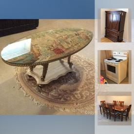 MaxSold Auction: This online auction features furniture such as a china cabinet, dining table, dining chairs, sideboard, love seat, chairs, dresser, bed, armoire wood table, sofa bed, coffee table and more, china, rug, kitchenware, filing cabinet, patio items, meat and food grinder, lamps, stove, baskets, tiles, clothing rack, clothing, TV, pots and pans, costume jewelry, fridge, linen and more!