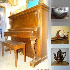 """MaxSold Auction: This online auction features VINTAGE FURNITURE such as an upright piano, 2 drop front secretaries, side table and VINTAGE GE floor polisher, Seth Thomas mantel clock. FURNITURE including 2 queen bedroom suites, 3 piece wall unit, kitchen and dining room table and chair sets, sofa and love seat and more! Exercise equipment such as Cardio Style Elliptical, Pro Form folding Treadmill. Kenmore bar fridge. Craftsman Router, Mastercraft Hammer Drill TOOLS. Domestic Imperial sewing machine in table, pfaff sewing machine, sewing supplies and notions. COLLECTIBLE Nascar trading cards, vintage Pyrex, soapstone carvings / Pendekin and Lladro figures, souvenir spoons, Beanie Babies, and more! Imari CHINA, Royal Doulton """"Mina"""" luncheon set for 4 and """"Rondo"""" dinnerware; Studio Nova """"Courtyard"""" dish set; contemporary white dish set. Glass and Crystal cut / pressed serving pieces including pinwheel, punch bowl set, vases; barware. Jewelry such as a sterling silver charm bracelet, 10K gold dinner ring with diamond chips and costume. Kitchen small appliances, and essentials. Yard and Garden tools, red bricks and more!"""
