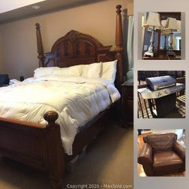 MaxSold Auction: This online auction features Bedroom Set, Leather Sofa and Chairs, Bookshelves, Large Faux Plants, Lamps, Candleholders, Pub Height Table, Uline Totes, Fabric, Clothing, Surround Sound System, Air Hockey Table, Grill and much more.