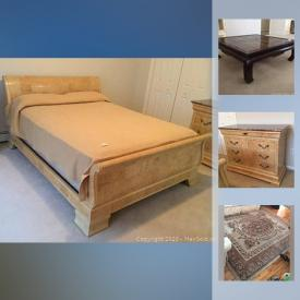 MaxSold Auction: This online auction features furniture such as Drexel Asian influence cabinet and mirror, Henredon bedroom set, chabudai Japanese table, Seine area rug, full-size bed, kitchen table with chairs and more!
