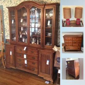 """MaxSold Auction: This online auction features Furniture such as as a Vintage oak slant-top desk, turkey crate turned coffee table and buggy seat bench, a twin bedroom suite, chests of drawers and a double Jenny Lind style bed, Thomasville """"Bay Colony"""" china cabinet, drop-leaf dining table and four chairs, armoire and more! Sterling Silver and silver plate serving pieces. China includes Syracuse """"Wedding Ring"""", Hammersley """"Victorian Violets"""", and vintage dessert plates and cake stand and more! Val St. Lambert Crystal water goblets, Black and white milk glass, Fenton bowl, Candlewick platter, green and blue opalescent GLASS pieces, colored bottles and more! Vintage lamps; toys - including an O gauge train; camera equipment; Remington typewriter; linens; women's hankies / gloves / evening bags and jewelry- including Mexican silver, vintage silver, rhinestone and amethyst pieces. Collectible pin-back buttons / post cards; miniatures / miniature room boxes; dolls / doll clothing / doll furniture; textiles including Molas; pottery / ceramics / figurines; metal trays / aluminum ice bucket / copper and brass / cast iron - including a trivet collection. Electronics such as a iMac desktop computer. Original ART. Much in the way of crafting / sewing/ embroidery / knitting and crocheting supplies! Tools such as a Saber Jet Jig saw. Yard and Garden tools such as a Agrifab leaf lawn sweep and much more!"""