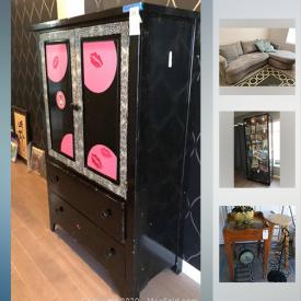 MaxSold Auction: This online auction features china cabinet, yakima bike rack, table, decor, children's sporting gear, Ethan Allen sofa, board games, kitchenware, shelving, shoes and clothing, small kitchen appliances such as an air fryer, wooden bookshelf, Broyhill armoire, hair accessories, wood art plate, flasks, outdoor table and more!