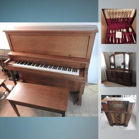 MaxSold Auction: This online auction features Royal Coulton Barberry China, Lamp, Dresser, Propane Barbeque, Pioneer Stereo Receiver, Williams Upright Piano, Vintage Phonola Radio, Antique Telephone and much more!