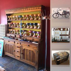 MaxSold Auction: This online auction features two Antique hump-back trunks. Vintage sled, horse-drawn plow, plastic lighted Santa; luggage. Schwinn adult tricycle. Furniture such as two dining tables, vintage spool chest crafts table, s-curve roll top desk and chair, light wood bedroom suite, SW styled hutch. Fiesta china. Frigidaire fridge, Admiral washer and dryer. Magnavox and Polaroid TVs, a Singer, two Brother sewing machines and a White Thread Overlock machine. Limited edition signed ART by Marcus Pierson, Stephen Morath and De La Nuez; SW / Cowboy themed wall art and mirrors. Women's costume jewelry and sterling silver earrings. Collectible - two dollhouses, doll furniture; crockery; MaCayo mug collection; a Bosson; Textiles - Hudson Bay, Pendleton, Mexican blankets and quilts. Yard and Garden such as decor, pots, electric lawn mower, outdoor storage shed and much more!