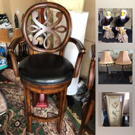 MaxSold Auction: This online auction features Furniture such as an tapestry upholstered armchairs, a pair of swiveling bar stools, wooden kitchen island and green leather loveseat. Many area rugs. Electronics include a Wii Fit Plus, Philips DVD surround sound system, JVC stereo system. Exercise equipment such as a never used AB Lounge, Gazelle Super Pro and Weslo Cadence Treadmill. African themed wooden statues. Yard and Garden items and more!