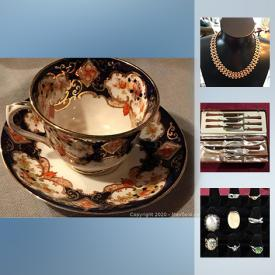 MaxSold Auction: This online auction features Collectible decor and souvenir plates; salt n pepper shaker sets; Wade and Red Rose figurines; Pin-back and lapel pins. Vintage Glass such as FireKing, Hazel Atlas, Apcoral and Termocrisa; Milk, Carnival and Depression glass. Sterling Jewelry, costume and Akoya pearls. Vintage Glo Hill serving trays with bakelite feet; 50's clothing and more!