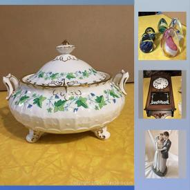"""MaxSold Auction: This online auction features a set of Royal Crown Derby """"Medway"""" serving pieces and dishes. Glass such as paperweights, art bowl and decanters. Collectible cars, sports memorabilia, train-themed items, china floral brooches, circulated stamps and a Goebel wedding figurine. Vintage Japanese paper lanterns, compacts and sewing patterns. Ladies vintage costume jewelry and some sterling silver and more!"""