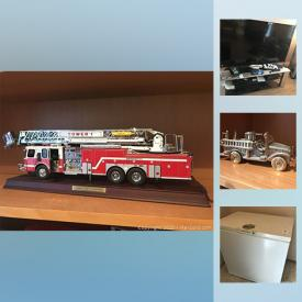 MaxSold Auction: This online auction features Microwave, Matchbox cars, Road Champs brand RCMP model cars , Franklin Mint Emergency One HP105 Platform Fire Engine, Cameras, Micro suede Couch, Art and much more!