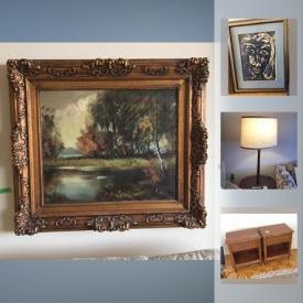 MaxSold Auction: This online auction features Seagull pewter marble tray, vintage piano stool, Art, Maddox wood desk, Small Appliances, Evesham, Knechtel night Tables and much more!