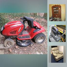 """MaxSold Auction: This online auction features Shop tools such as a Craftsman 12"""" Band saw with built-in light and table, compound 10"""" Mitre Saw, Router and router table, 12"""" Wood Lathe; American Machine and Tool Jig Saw; Charge Air Pro compressor; Black and Decker Workmate with vise, workbench. Simmon Omega enlarger and darkroom equipment. Furniture such as a china cabinet, secretary, vintage music cabinet, double bedroom suite, bunk bed, office furnishings including four desks. Vose & Sons upright piano and bench. Electronics such as office equipment - Dell computer system, Canon Pixma printers; Samsung 51"""" TV, Mintek DVD player; Sony, Sharp, JVC and RCA stereo components; Singer and mini Kay an EE sewing machines. Crystal and glass include Depression glass sherbet dishes, cut / pressed serving pieces and etched stemware. Pfaltzgraff Christmas and everyday dish sets; Vintage Lu-Ray cream and sugar. Sterling silver candlesticks. Silver plate goblets, tea and coffee services. Copper molds and cookie cutters. Brass including horns. Collectible Birds / Ducks / Lighthouses; Hummels / Royal Albert's """"Beatrix Potter"""" figures; Ho Trains and rails. Weight bench with weights; Head skis, Tomic poles and Munari boots; aluminum Grumman canoe and paddles. Master built Veranda propane BBQ. Yard and Garden tools, supplies and decor and more!"""