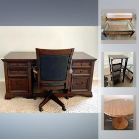 MaxSold Auction: This online auction features Gray Leather Sofa , Table, Shelf, Flexsteel Home Desk and more!