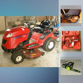 MaxSold Auction: This online auction features Riding Mower, Lawn Mowers, Tiller, Trimmers, Cedar Lined Steamer Trunk, Sports Equipment, Collectible Dolls, Guitar, Dehumidifier, Chest Freezer, Barbecue, Teak Buffet, Crystal Decanter, Patio Furniture and much more!