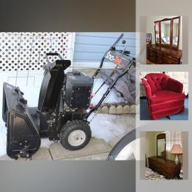 MaxSold Auction: This online auction features yard items such as snow blowers, lawn mower, watering cans and planters, picnic table, garden tools, car jack and more, air compressor, table saw, tires, wooden boxes, furniture such as a corner shelf side table, demi-lune table, tray table, tub chair, folding chairs, Dielcraft dresser, dresser with mirror, bed frames and more, lamps, figurines, vintage tray, washboard, christmas ornaments, religious items, guitar, vacuums, electronics, hardware and tools, cooler, power tools, nailer, storage boxes, barbecue and tools, bookcase and books, radio, small kitchen appliances, refrigerator, kitchenware such as pots, pans, roasting pans, trays, coffee pot, dishware, glassware, microwave, Tassimo, flatware, canisters and more, vacuums, games, children's toys, Wade figurines, healthcare items such as a walker, canes, toilet riser, transfer chair, first aid supplies and much more!