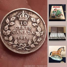 MaxSold Auction: This online auction features Collectible antique and vintage coins; Renault Fuego die cast Nascar; key chains. Sterling silver and gemstone Jewelry. An unusual carved wood pitcher. Jeanette glass chicken and red goblets and more!