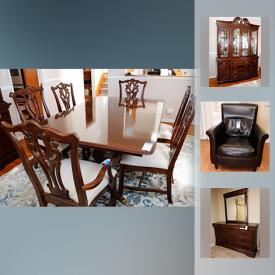 MaxSold Auction: This online auction features Patio Furniture such as a wicker set which includes a sofa, coffee and end tables, chair and lounge chair as well as two table and chair sets and more! Several Bedroom suites, including a sleigh bed and a day bed with trundle. An unusual revolving door cabinet. A dining room suite with china hutch, double pedestal dining table and six chairs. Office furnishings including several desks. Electronics such as a Sony receiver and Blue Ray player, TLC Roku TV, And a RCA VCR. Signed prints. Collectible miniatures and Limoges decor plates and more!